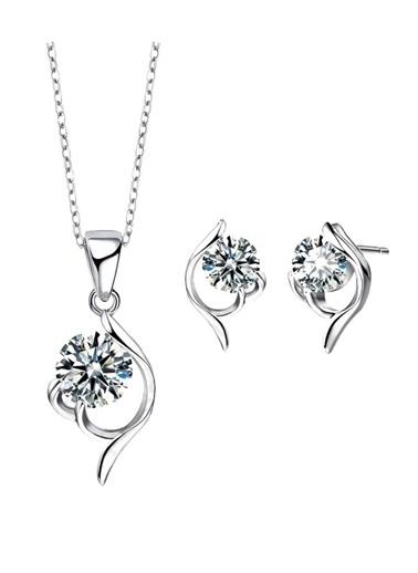 Enesstore Gümüş Zirkon Taşlı Bayan Kolye Küpe Set Gümüş Takı Seti Beyaz
